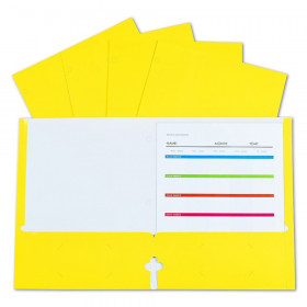 2-Pocket Laminated Paper Portfolios with 3-Hole Punch, Yellow, Box of 25