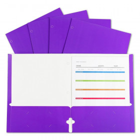 2-Pocket Laminated Paper Portfolios with 3-Hole Punch, Purple, Box of 25