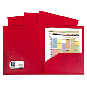 C-Line Two-Pocket Poly Portfolios, Without prongs, Red, Pack of 10