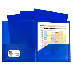 C-Line Two-Pocket Heavyweight Poly Portfolio Folder, Blue, Pack of 10