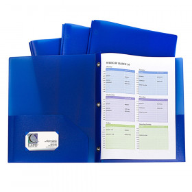 Two-Pocket Heavyweight Poly Portfolio Folder with Prongs, Blue, Pack of 10
