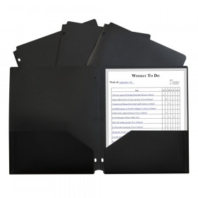 C-Line Two-Pocket Poly Portfolio with Three-Hole Punch, Black