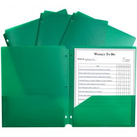 2 Pocket Poly Portfolio Green W/ 3 Hole Punch