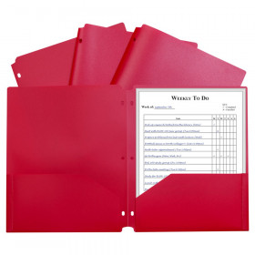 2 Pocket Poly Portfolio Red W/ 3 Hole Punch