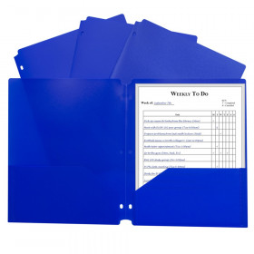 C-Line Two-Pocket Poly Portfolio with Three-Hole Punch, Blue, 1EA, 25EA/BX