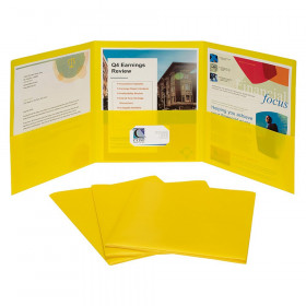 3-Pocket Poly Portfolio, Yellow, Box of 24