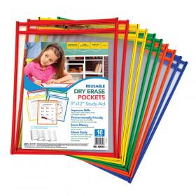 C Line Reusable 10Pk 9X12 Dry Erase Pockets Assorted Primary