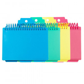 Spiral Bound Index Card Notebook with Index Tabs, Assorted Tropic Tones Colors, 1 Each