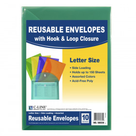 XL Reusable Envelopes, Hook and Loop Closure, 8 1/2 x 11, Assorted Colors, Pack of 10