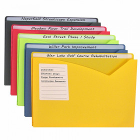 """Write-On Poly File Jackets, Assorted Colors, 11"""" x 8.5"""", Box of 25"""