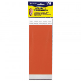 "DuPont Tyvek Security Wristband, Orange, 3/4"" Width, 10"" Length, Pack of 100"