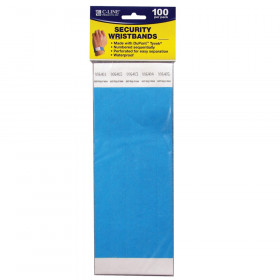 DuPont Tyvek Security Wristbands, Blue, 100/Pack