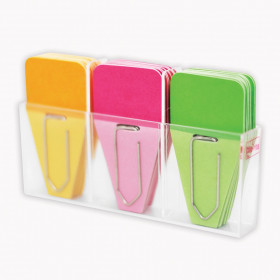 Solid Clip-Tabs, Pack of 24, Pink/Green/Orange