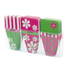 Daisy Clip-Tabs, Pack of 24, Pink/Green