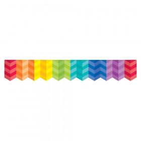 Painted Palette Rainbow Herringbone Border