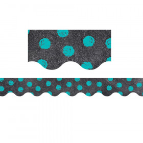 Dots on Chalkboard! Turquoise Borders