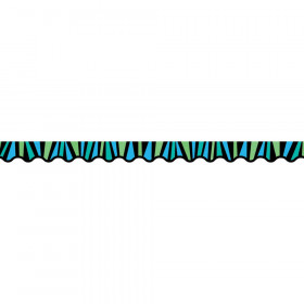Blue & Green Stripes Wavy Border