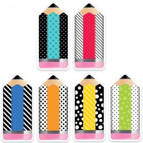 6In Striped/Spotted Pencils Cutouts Bold Bright Designer