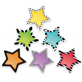 """Bold & Bright Stars 6"""" Designer Cut-Outs, 36/Pack"""