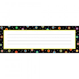 Dots on Black Name Plates, 36/Pack