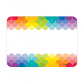 Painted Palette Rainbow Scallops Name Tag Labels, 36/Pack