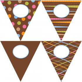 "Dots on Chocolate Pennants 10"" Jumbo Designer Cut-Outs"