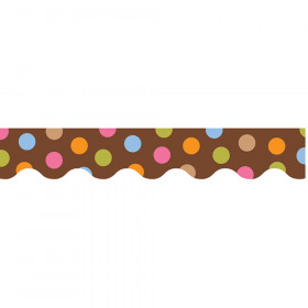 Dots on Chocolate Wavy Border