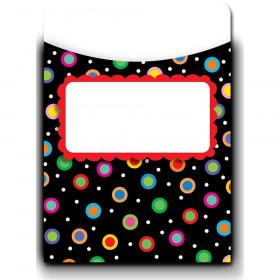 Dots on Black Library Pockets - Jumbo