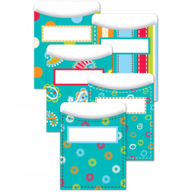 Dots on Turquoise Library Pockets - Standard