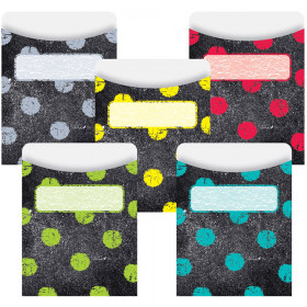 Chalk It Up Dots On Chalkboard Library Pockets - Standard