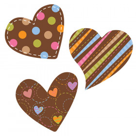 """Dots on Chocolate Hearts 10"""" Jumbo Designer Cut-Outs"""