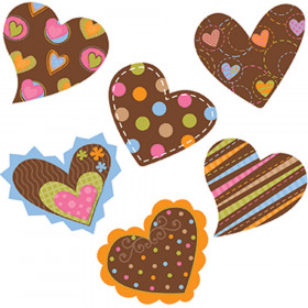 "Dots on Chocolate Hearts 1"" Mini Designer Cut-Outs"