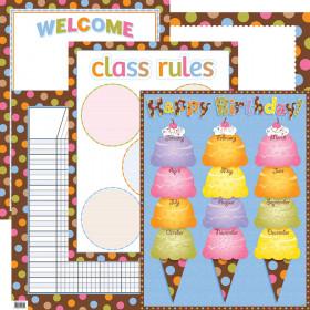 Dots On Chocolate Classroom Essentials Chart Set