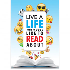 Emoji Fun Inspire U Poster, Live a life you would like to read about