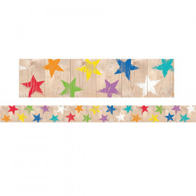Upcycle Style Rustic Stars Border, 35 Feet
