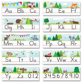Woodland Friends Traditional Manuscript Alphabet Line Bulletin Board