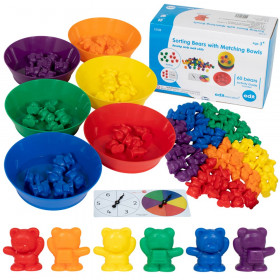 Sorting Bears with Matching Bowls - Early Math Manipulatives - 68pc Set - 60 Bear Counters, 6 Bowls & 2 Game Spinners - Home Learning
