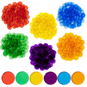 Transparent Counters - Set of 500 - Counters for Kids Math - Assorted Colors - 3/4 in - Counting, Sorting, Light Panels, Bingo and More
