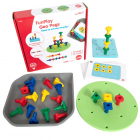 FunPlay Geo Pegs - Homeschool Kit for Toddlers - 18m+ - 24 Plastic Pegs + 2 Pegboards + 50 Activities + Messy Tray