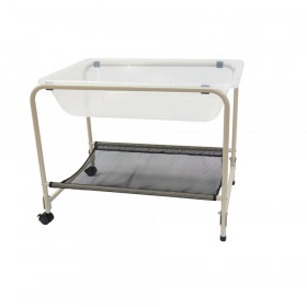 """Desk Top Water Tray and Stand - Homeschool Supplies for Sensory Play - 23"""" High - Sand and Water Table - Lockable Casters and Shelf"""