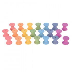 Rainbow Wooden Spools, 21-Piece Set