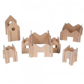 The Happy Architect, Wooden Building Set, Natural, 28 Pieces