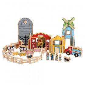 The Happy Architect, Wooden Building Set, Farm, 26 Pieces