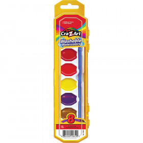 Washable Watercolors with Brush, Peggable Tray, 8 Count