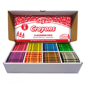 Crayon Classroom Pack, 8 Color, Box of 800