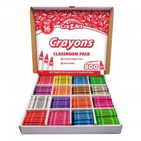 Crayon Classroom Pack, 16 Color, Box of 800