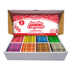 Jumbo Crayon Classroom Pack, 8 Color, Box of 400