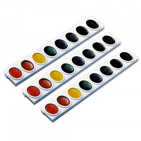 Prang Watercolors, Oval Pan Refill Tray, 8 Colors Per Tray, 3 Trays
