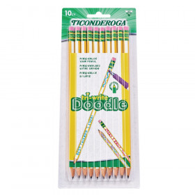 Tri-Write Doodle Wood-Cased Graphite Pencils, #2 HB Soft, Pre-Sharpened, Yellow/White, 10 Count