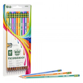 Pencils, #2 Soft, Neon Stripes, Presharpened, Pack of 10